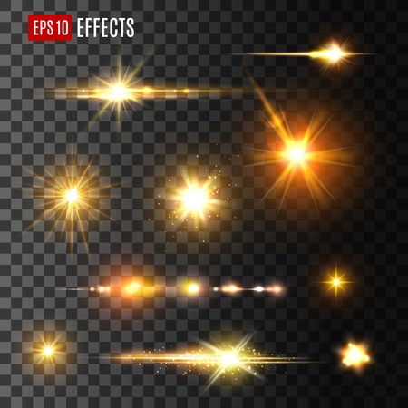 Illustration for Stars and gold flashes light effects on transparent background. Vector icons of luminous starlight rays or sparkling sun beams and golden glitter shine blurs with glowing particles or space sparks - Royalty Free Image