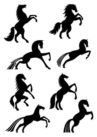 Illustration for Horses icons or silhouettes of black heraldic equine emblems. Vector mustang racing, running or rearing and jumping or stomping hoof for horse sport races badge, equestrian rides or exhibition - Royalty Free Image