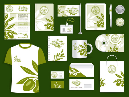 Illustration pour Brand or company corporate identity templates for olive oil farm or olive products industry. Branded accessories set of vector branding office business cards, stationery and promo apparel set - image libre de droit