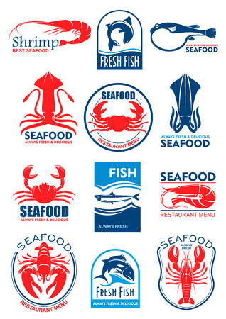 Ilustración de Seafood and fish food icons and symbols of squid or cuttlefish, lobster crab and shrimp prawn, tuna, salmon or trout and fresh herring. Vector icons set for restaurant menu or sign - Imagen libre de derechos
