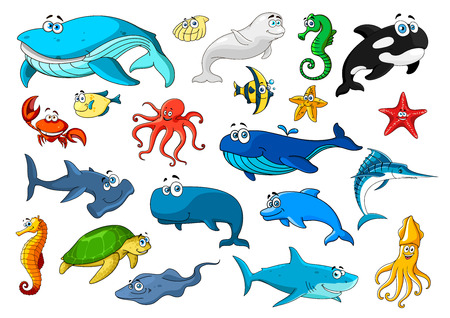 Illustration pour Cartoon sea animals icons. Fish, sea turtle, whale, crab, starfish, octopus and jellyfish, seahorse and dolphin, shark, shell, squid and shrimp, stingray and marlin, killer whale and hammerhead shark - image libre de droit