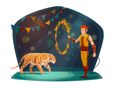 Illustration pour Circus performance with tiger jumping through fire ring and handler in scenic costume. Spectacular entertainment, man with circle in flame and wild dangerous animal ready to show trick vector - image libre de droit