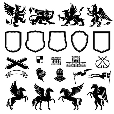 Illustration for Heraldic animals and design elements for coat or arms and insignia template. Medieval shield, knight and flag, griffin, pegasus and ribbon banner, tower, crossed weapon and anchor for heraldry design - Royalty Free Image