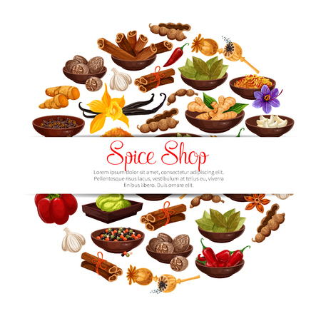 Ilustración de Spices and herbs in bowls poster of herbal seasonings. Vector tamarind, or vanilla and chili pepper, cinnamon and cardamom or cloves seeds and ginger, Indian curry or anise and turmeric with nutmeg - Imagen libre de derechos