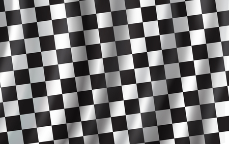 Ilustración de Checkered flag 3D background. Vector wavy start or finish flag with checker pattern of car racing, rally sport club or bike races competition backdrop design - Imagen libre de derechos