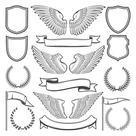 Illustration for Heraldic icons constructor of bird wings, shields or ribbons and laurel. Vector isolated sketch set of heraldry symbols for royal premium and luxury design or tattoo - Royalty Free Image