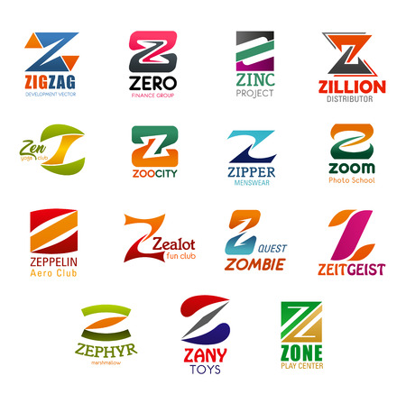 Illustration pour Letter Z icons for business company and corporate design. Vector Z symbols for development, finance or trade project, menswear and club or distributor center and photo school - image libre de droit