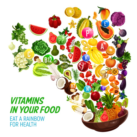 Illustration for Rainbow color diet for healthy nutrition and natural food eating program. Vector vitamins and minerals complex in organic vegetables, salads or fruits and berries, nus and cereals splash - Royalty Free Image