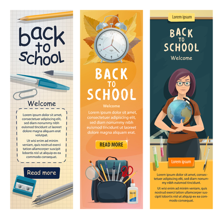 Illustration pour Back to School banners for education season. Vector welcome design of geography teacher woman with globe at class room blackboard with stationery and books in school bag - image libre de droit