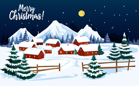 Ilustración de Christmas winter landscape with village house and Xmas tree greeting card. New Year holiday night scene of country street with home and cottage in snow for Christmas festive poster design - Imagen libre de derechos