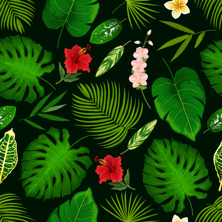 Illustration pour Tropical palm leaf and exotic flowers pattern background. Vector seamless design of hibiscus, banana palm or monstera leaf and fern plant, cyperus or orchid and plumeria or tropic lily blossom - image libre de droit