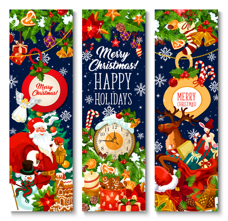 Illustration pour Merry Christmas greeting banners design of Xmas tree wreath, Santa gifts bag on sleigh and New Year clock. Vector snowflake on Christmas tree, New Year gingerbread cookie and golden bell or star ornament - image libre de droit