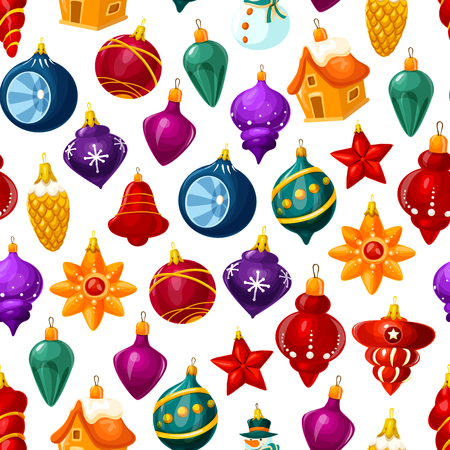 Illustration for Christmas decorations pattern background. Vector seamless cartoon Christmas tree glass ball with stars, house or star and icicles for New Year holiday greeting card - Royalty Free Image