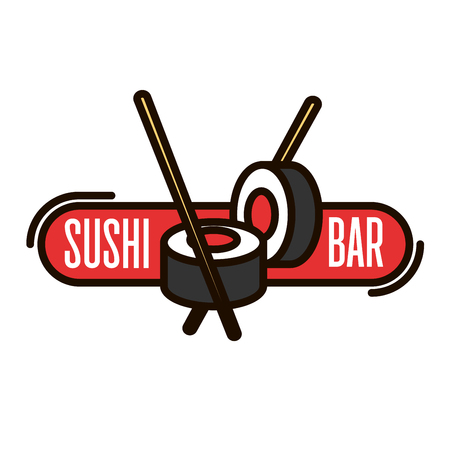 Illustration for Sushi bar thin line icon of salmon sushi rolls with chopsticks and red banner. Japanese seafood restaurant signboard or takeaway food packaging design usage - Royalty Free Image