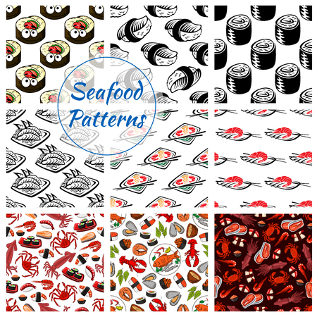 Ilustración de Japanese seafood patterns. Vector seamless set of sushi rolls and sashimi, shrimp or fish tempura food, steamed rice and salmon caviar or tuna with squid and noodle seaweed miso soup, wasabi, soy sauce and chopsticks for oriental cuisine restaurant - Imagen libre de derechos