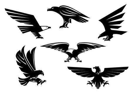 Illustration pour Bird icons set. Vector heraldic eagle or hawk isolated emblem. Gothic or imperial predatory falcon symbol with open spread wings and sharp clutches. Eagle or griffin heraldry sign for sport team mascot, military shield, security badge - image libre de droit