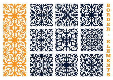 Illustration pour Ornamental floral design elements for border, frame or page decoration design usage with openwork flourish motif of flowers and leafy branches - image libre de droit