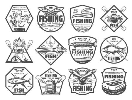 Ilustración de Fishing retro sketch icons for fisherman club or adventure. Vector set of big fish big catch and fisher tackles for seafood octopus, eel or mackerel and marlin or trout and salmon - Imagen libre de derechos