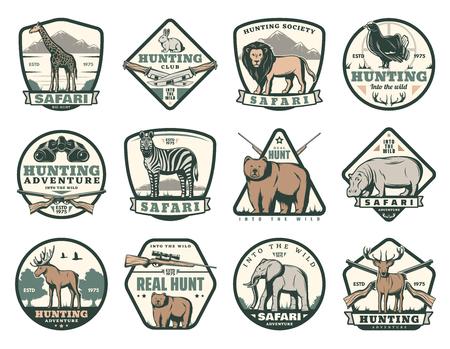 Illustration pour Hunting club icons of wild animals for African safari and open season hunt. Vector badges for hunter society giraffe, lion or rabbit and pheasant bird, zebra or bear and hippopotamus with elephant - image libre de droit