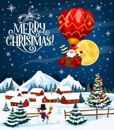 Illustration for Winter holiday poster with Merry Christmas wish. Santa Claus on air balloon flying over village. Houses in forest under snow among decorated Xmas trees and snowman in tall hat and scarf vector - Royalty Free Image