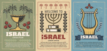 Ilustración de Welcome to Israel retro posters with gold goblet and pomegranate, menorah and laurel branches, harp musical instrument. Jewish culture and judaism religion. Travel vintage brochures vector - Imagen libre de derechos