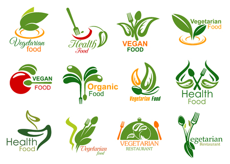 Ilustración de Vegetarian restaurant symbols of healthy and vegan food menu. Fork, spoon and tray lid isolated icons, decorated with green leaf, organic vegetable and fruit. Bio market and eco shop badges design - Imagen libre de derechos