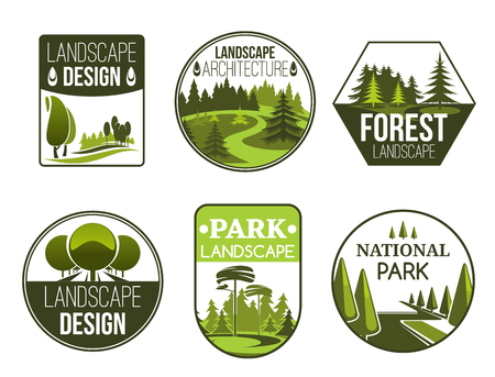 Illustration pour Landscape design and gardening service vector icons, forest, park and garden. Green nature emblems of landscape design studio with decorative trees, plants and grass lawn - image libre de droit