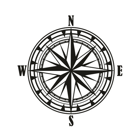 Illustration pour Vintage compass rose isolated icon, travel and nautical navigation design. Black and white retro diagram of compass rose with star of North, South, East and West wind points or cardinal direction - image libre de droit