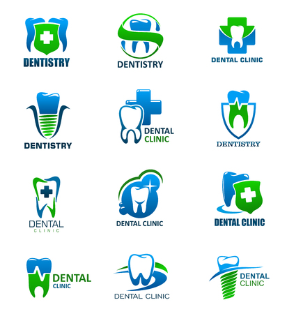 Illustration pour Tooth health care and dentistry medicine isolated icons. Dental clinic and dentist office symbols with teeth and implant, decorated by shield with cross and ribbon banner - image libre de droit