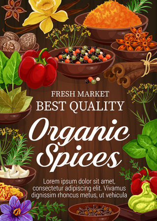 Ilustración de Organic spices and herbs on wooden background. Pepper, rosemary and thyme, green basil, vanilla and cinnamon, nutmeg, garlic and star anise, bay leaf, saffron and turmeric. Seasoning elements - Imagen libre de derechos