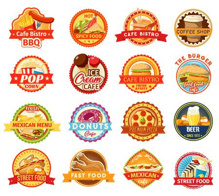 Ilustración de Fast food icons. Burger, pizza and fries, donut, hot dog and soda, ice cream, chicken nuggets and mexican taco, nacho and popcorn elements. Coffee shop and bistro design - Imagen libre de derechos