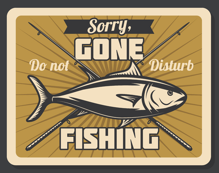 Ilustración de Gone fishing retro banner with fish and spinning rod. Outdoor hobby, recreation activity and fisherman sport club vintage poster - Imagen libre de derechos