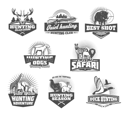 Illustration pour Hunting retro icons of african safari and hunter sport club. Wild animals and birds black and white badges with huntsman rifle target, shotgun and dog, antler and crossbow. Hunting sport theme design - image libre de droit
