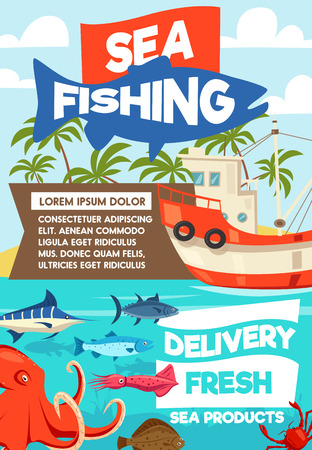 Ilustración de Sea fishing cartoon poster, fisherman boat or ship and tackles. Vector fisher big catch of seafood octopus, squid or shirmp and trout or tuna and flounder with marlin on rod hook - Imagen libre de derechos