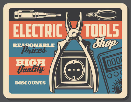 Ilustración de Electrical tools vintage poster, electricity power and energy store signboard. Vector retro design of electric plug and socket, voltmeter tester and wire cutters or ammeter - Imagen libre de derechos