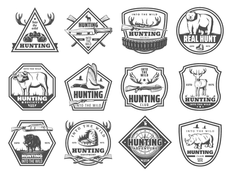 Illustration pour Hunting club icons, hunt open season or African safari adventure. Vector hunter binoculars, elk antlers or wild buffalo animal and rifle gun or trap for bear, rhinoceros or boar hog and duck - image libre de droit
