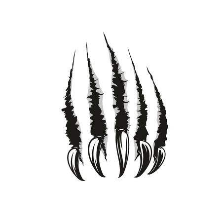 Ilustración de Claw scratches or wild animal paw torn marks. Vector sharp nails slashes or scars with laceration and torn shreds. Dangerous monster or beast attack theme, also tattoo design template - Imagen libre de derechos