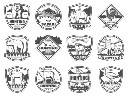 Ilustración de Hunting club icons of wild animals and birds, guns. Hunt open season. Vector set of rifle bullets and traps, bear and badger, African safari cheetah panther and buffalo, wolf and gazelle, pheasant and duck - Imagen libre de derechos