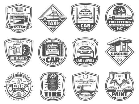 Illustration pour Car service badges, retro vector icons. Auto parts and tire shop, car wash, evacuation and paint service, motor oil and battery change, garage and mechanic workshop vector design - image libre de droit