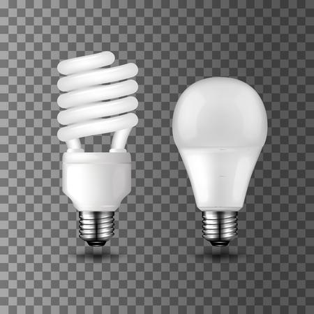Ilustración de Energy saving realistic vector light bulbs on transparent background. Compact fluorescent light bulb and light emitting diode LED. Energy saving and ecology themes design - Imagen libre de derechos