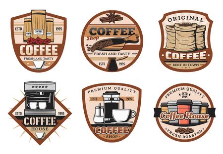 Ilustración de Coffee drink and bean vintage icons. Espresso, cappuccino or latte hot beverage cup and mug, coffee machine and pot retro vector symbols and icons - Imagen libre de derechos