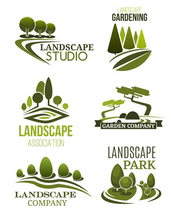 Illustration pour Landscape design icons, landscaping studio and gardening company theme. Green tree plant and lawn of park symbols for garden planning, city square maintenance and landscaping service. Vector - image libre de droit