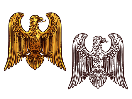 Illustration for Heraldic eagle golden statue and sketch icon. Griffin coat of arms, hawk symbol of power and strength, outline golden eagle, vintage vector. Bird for tattoo, royal imperial of gothic predatory theme - Royalty Free Image