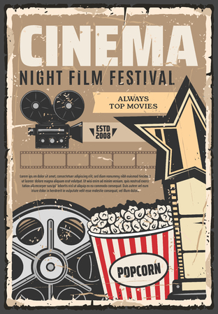 Illustration pour Cinema film festival vector retro poster. Popcorn and camera, vintage reel and projector. Star and vintage stripe, filmmaking studio showing top movies. Cinematography media films, movie production - image libre de droit