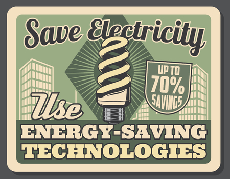 Illustrazione per Energy-saving technologies retro poster. Compact fluorescent lamp helping to save up to 70 percent savings. Vector leaflet on save electricity concept, Light bulb source of energy in modern buildings - Immagini Royalty Free