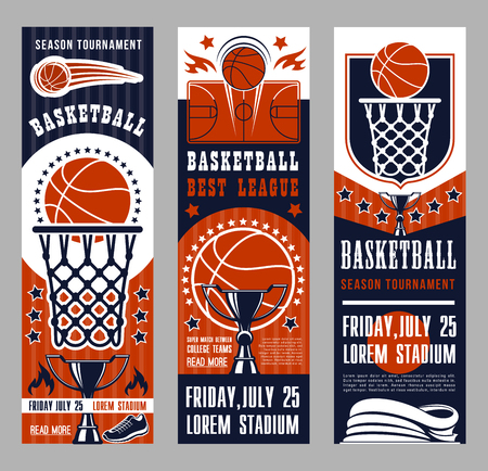Ilustración de Basketball league tournament vector banners. Symbols of basketball sport team game as baskets on backboards, courts and ball, prize cup and playing field, sportive shoes and winning trophies leaflets - Imagen libre de derechos