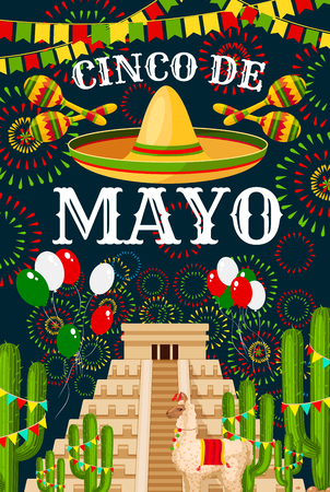 Illustration for Cinco de Mayo greeting card for Mexican traditional holiday fiesta party celebration. Vector sombrero and Mexico flag balloons on Aztec or Maya pyramid, cactus and fireworks for Cinco de Mayo design - Royalty Free Image