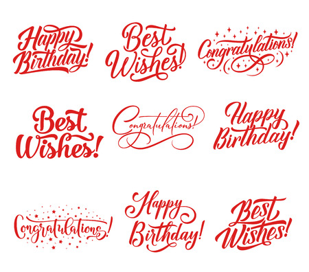 Ilustración de Congratulations hand lettering for greeting card and invitation template. Happy Birthday and Best Wishes calligraphy inscription, decorated by star for celebration party decoration design - Imagen libre de derechos