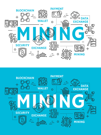 Illustration pour Mining of cryptocurrency, digital money outline icons. Blockchain and wallet, payment and data exchange, security and storage symbols. Cryptocurrency extraction technology, flat vector signs - image libre de droit