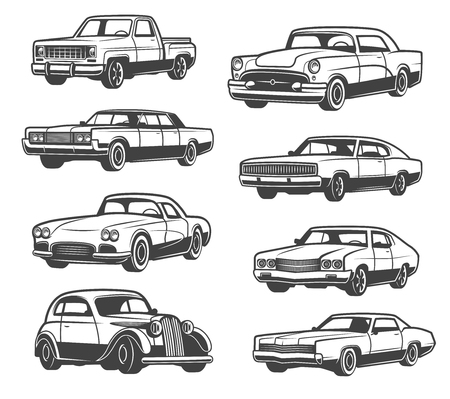 Ilustración de Retro cars and vehicle types. Vector isolated icons of vintage transport taxi cab, sport car or limousine and old pickup truck or luxury premium sedan, auto service theme design - Imagen libre de derechos